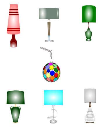 retro household lamps set
