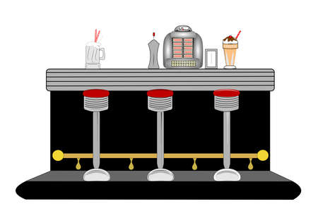 over the counter: diner counter from fifties and sixties with jukebox Stock Photo