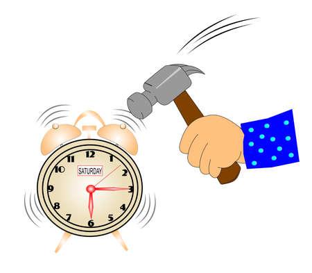 saturday: alarm clock on saturday morning