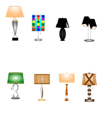 creative arts: retro tablelamps set over white