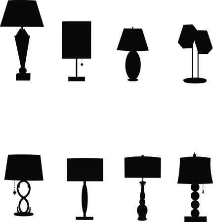 creative arts: retro tablelamps in silhouette Illustration