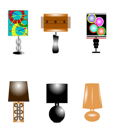 funky style retro lamps Иллюстрация
