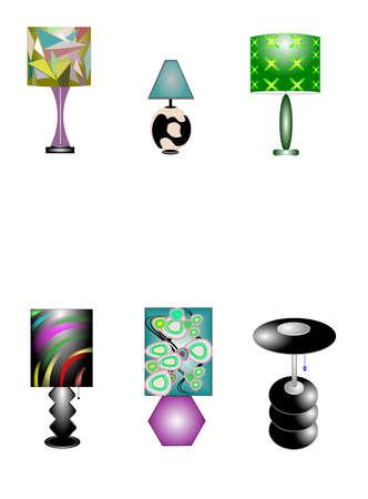 creative arts: retro lamps  Illustration