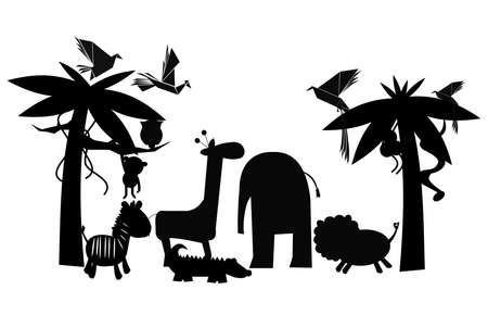 flying monkey: friends of the jungle in silhouette Illustration