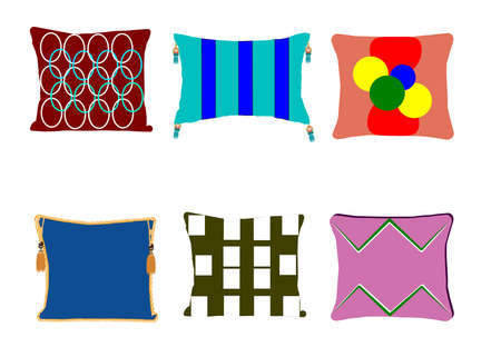 six objects: funky pillows set
