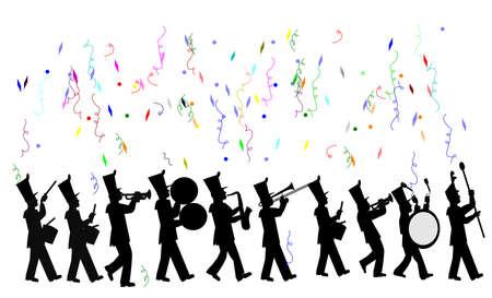 parade confetti: banda de m�sica en la celebraci�n del desfile Vectores
