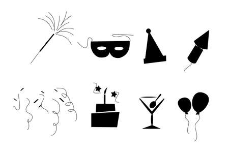 exciting: retro party elements  in silhouette Illustration