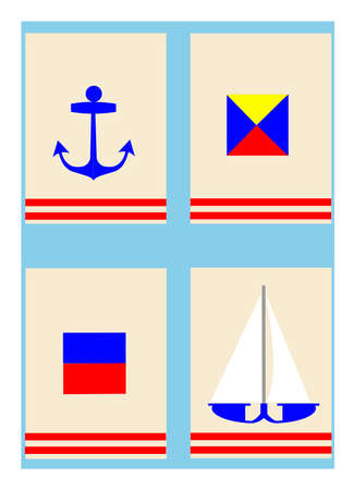 nautical fags concept background  Vector