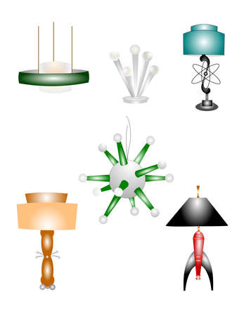 retro modern era lamps  Vector