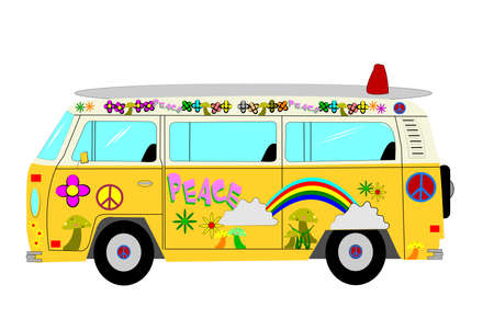 hippie bus from sixties era