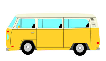 mini bus: mini bus from sixties era  Illustration