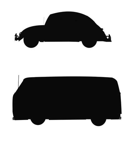 vintage vw beetle style autos in silhouette  photo