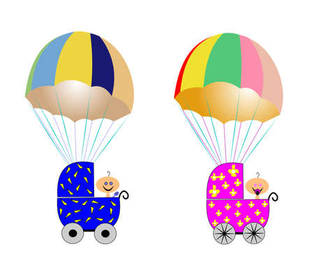 floating: baby delivery by parachute  Illustration