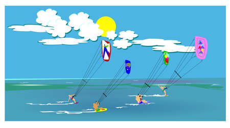 wind surfing: kite surfing  Illustration