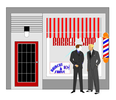 awnings windows: retro barbershop with men in front talking  Stock Photo
