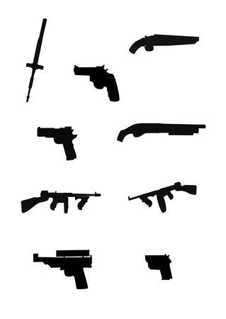 sawed: armaments in silhouette from various eras