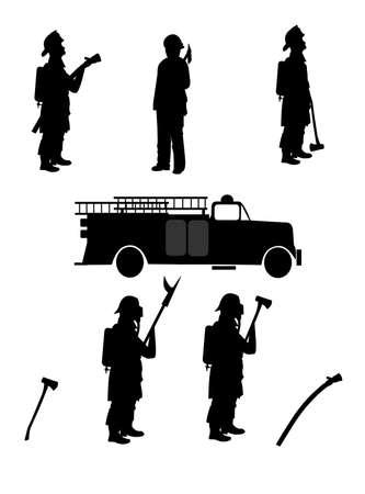 firemen with retro firetruck