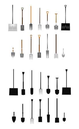 hand shovels: spring time tools  Illustration