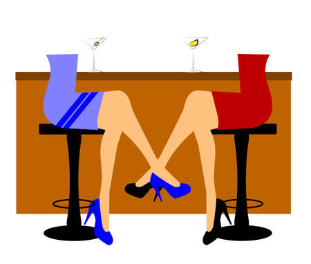 stools: women sitting at bar with martinis at happy hour