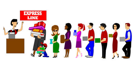 express line checkout madness Stock Photo