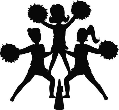 cheerleaders silhouette Vector
