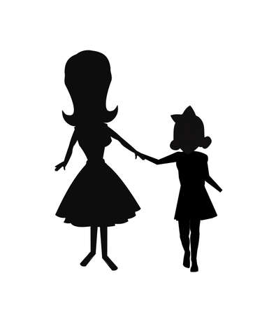 mom and daughter holding hands walking in silhouette Çizim