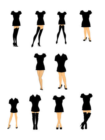 women in heels and t shirts set  Vector