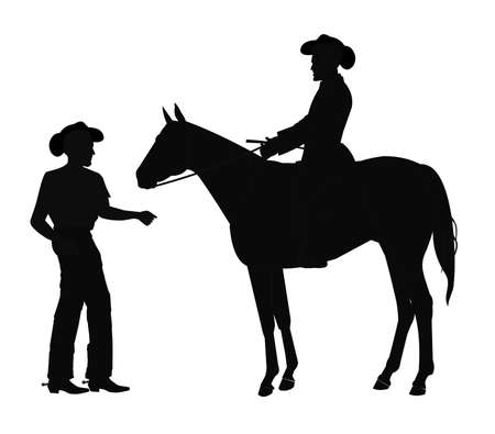 cowboys in silhouette Vector