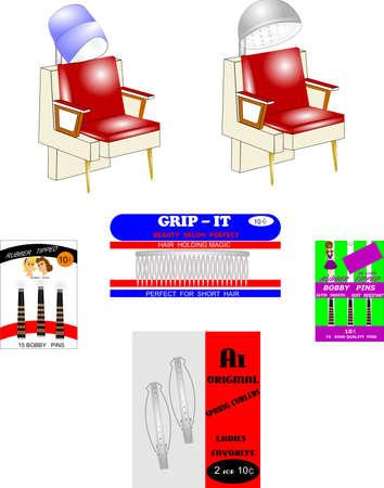 beauty shop: elementos hairtyle retro sal�n de belleza