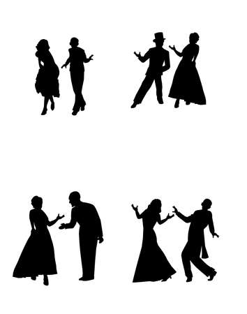 jive: dance couples in silhouette