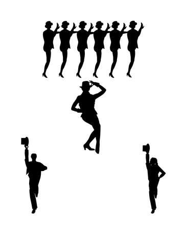 high: chorus line dancers