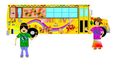 era: hippie retro school bus  Illustration