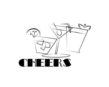 cheers line art sketch
