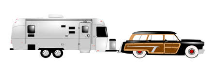 retro rv with woody station wagon  Vector