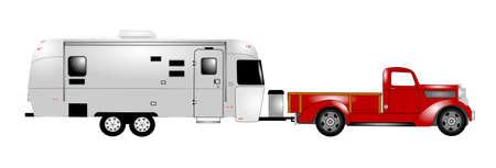 airstream: retro rv with pick up truck  Illustration