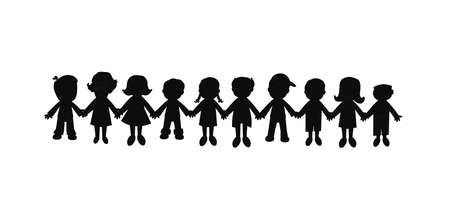 kids holding hands: best friends forever silhouette