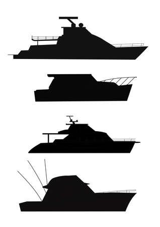 fishing boats in silhouette  Ilustração
