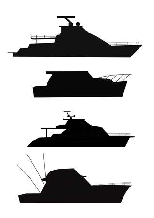 fishing boats in silhouette  Vector