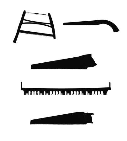 logging: saws in silhouette
