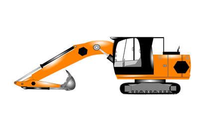 dredge to dig: excavator Illustration