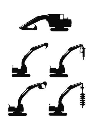 excavators in silhouette with attachments