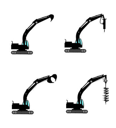 hydraulic: excavators with attachments