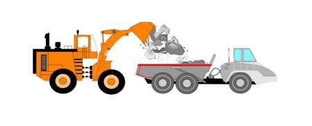 dump truck: dozer filling dump truck with rocks  Illustration