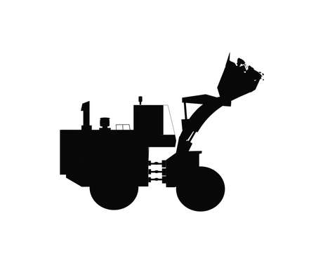 dozer silhouette with full load of rocks in bucket  Illustration