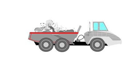 dump truck with full load of rocks  Vector