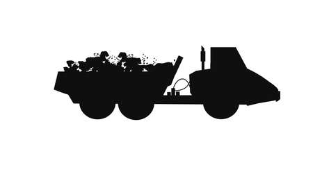 dump truck silhouette with full load of rocks  Vector