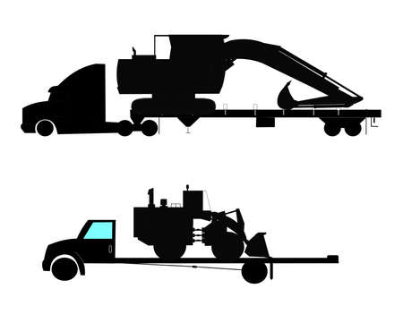heavy machinery on trailers