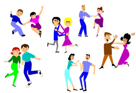 group of old people: dance party  Illustration
