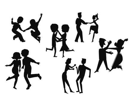 jitter: retro dance party in silhouette