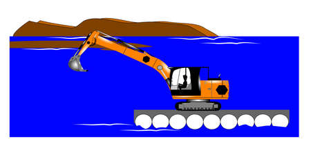 flotation: dredging operation with excavator